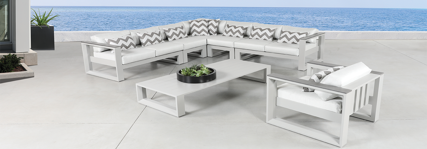 Patio Furniture Set In White With White Cushions